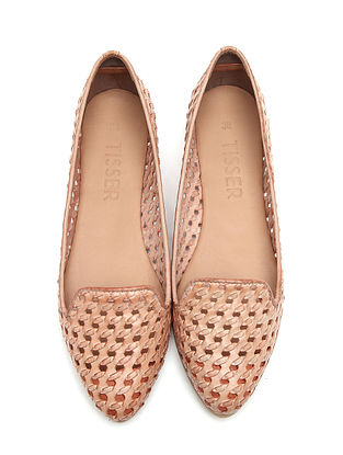 Pink Handwoven Genuine Leather Shoes