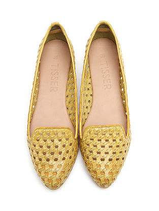 Yellow Handwoven Genuine Leather Shoes