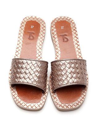 Bronze Handwoven Genuine Leather Flats