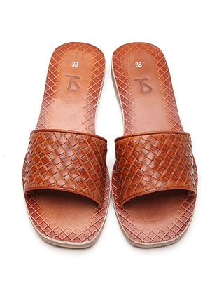 Brown Handwoven Genuine Leather Flats
