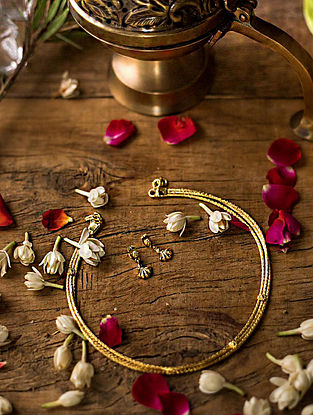 Gold Plated Silver Necklace with Earrings