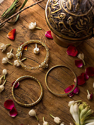 Gold Plated Silver Bangle Set (Size: 2/5)