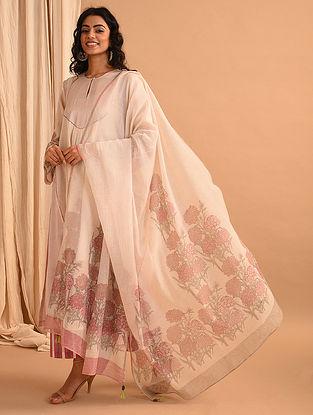 Ivory Block Printed Chanderi Silk and Cotton Dupatta