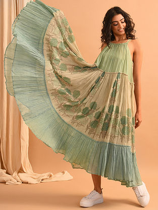Green and Blue Block Printed Chanderi Silk and Cotton Dress