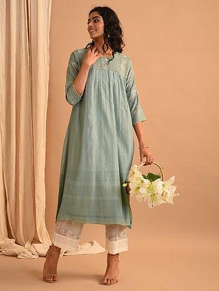 Blue  Chanderi Silk and Cotton Kurta