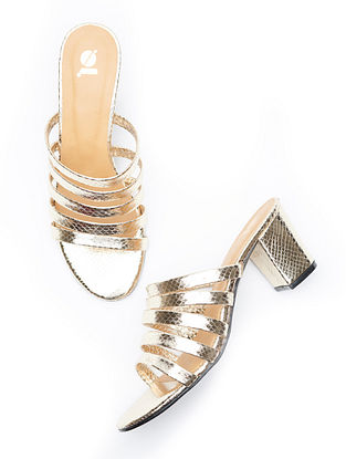 Silver Handcrafted Leather Block Heels