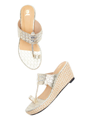 Silver Handcrafted Leather Kolhapuri Wedges