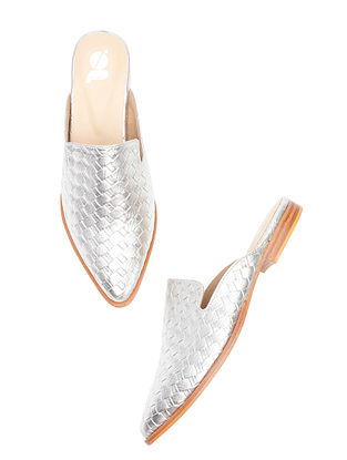 Silver Handcrafted Leather Mules