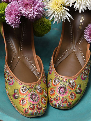 Lime Green Handcrafted Genuine Leather Juttis
