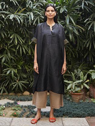 Midnight Black Tagai Thread Embroidered Silk Kurta with Farshi