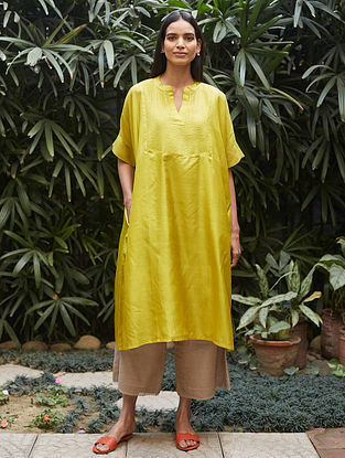 Canary Yellow Tagai Thread Embroidered Silk Kurta