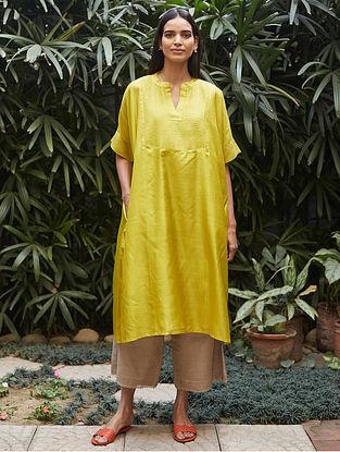 Canary Yellow Tagai Thread Embroidered Silk Kurta with Farshi