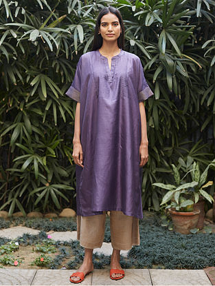 Violet Tagai Thread Embroidered Silk Kurta with Farshi