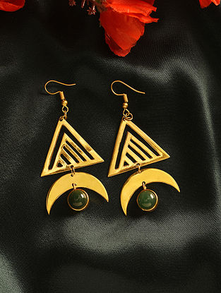 Green Gold Plated Handcrafted Earrings With Aventurine