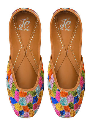 Multicolored Handcrafted Sequinned Silk Juttis