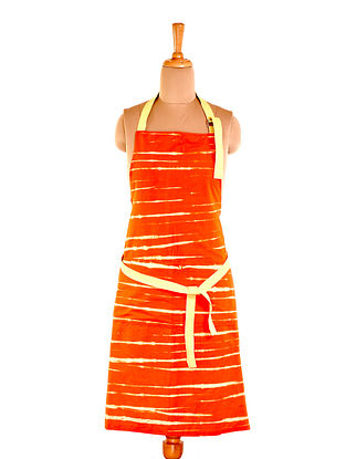 Orange Leheriya Cotton Apron (L-32in ,W-23in)