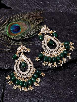 Green White Gold Tone Jadau Earrings