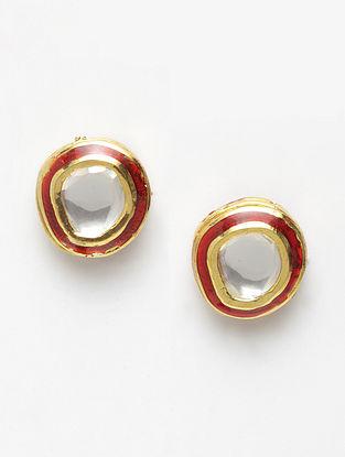 Red Meenakari Gold Tone Kundan Stud Earrings