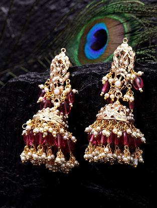Pink Gold Tone Kundan Jhumki Earrings