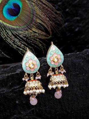 Blue Pink Gold Tone Enameled Kundan Jhumki Earrings