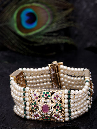 White Gold Tone Beaded Jadau Bracelet