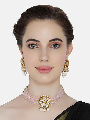 Pink Gold Tone Kundan Beaded Necklace With Earrings