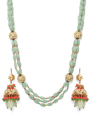 Green Orange Gold Tone Beaded Kundan Necklace With Earrings