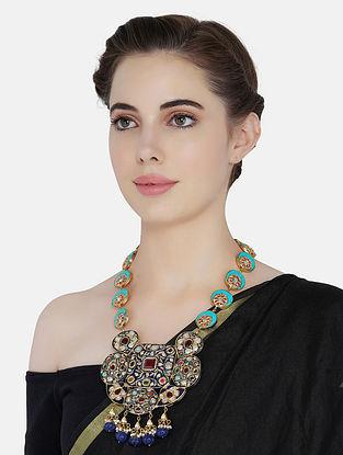 Blue Turquoise Gold Tone Kundan Jadau Necklace