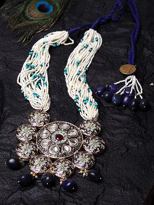 Blue White Gold Tone Kundan Beaded Necklace