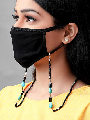 Black Turquoise Handcrafted Mask Chain With Onyx