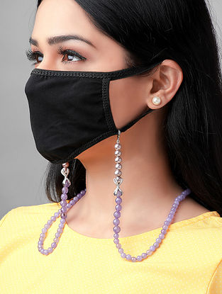 Purple Handcrafted Mask Chain With Pearls And Zircon