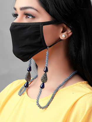 Blue Handcrafted Mask Chain With Onyx And Crystals