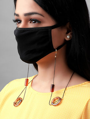 Brown Handcrafted Mask Chain With Agate