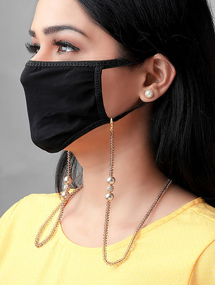 White Gold Tone Handcrafted Mask Chain