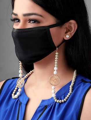 White Gold Tone Handcrafted Mask Chain With Pearls