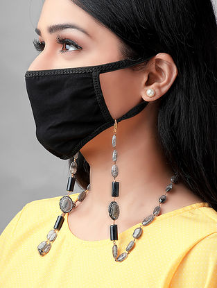 Grey Handcrafted Mask Chain With Onyx Crystals Jades