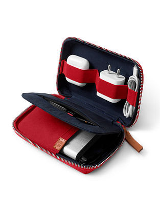 Red Blue Handcrafted Canvas Pouch
