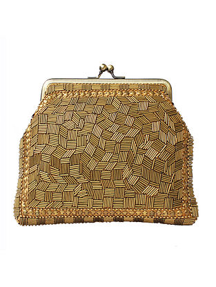 Gold Handcrafted Beaded Silk Clutch