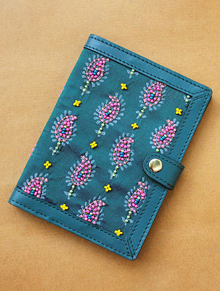 Turquoise Handcrafted Leather Passport Holder
