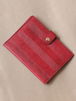 Red Handcrafted Leather Passport Holder