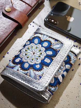Blue Handcrafted Leather Wallet