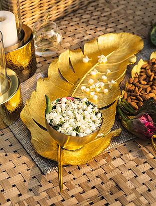 Shiny Gold Palm Leaf Platter (L - 24.5in ,W - 8.5in)