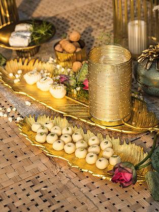 Shiny Gold Banana Leaf Platter (L - 26.5in ,W - 8.5in)