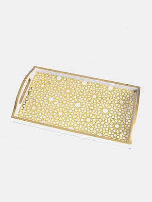 White And Gold Nizara Tray(L - 14in ,W - 8in ,H - 2in)