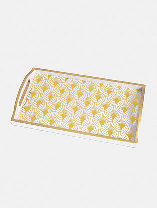 White And Gold Gatsby Tray(L - 14in ,W - 8in ,H - 2in)