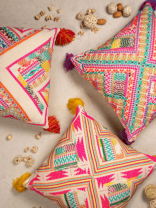 Multicolour Aztec Neon Cushion With Tassels(L - 18in ,W - 18in)
