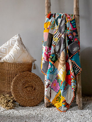Multicolour Boho Patch Work Throw(L - 58.5in ,W - 49.5in)