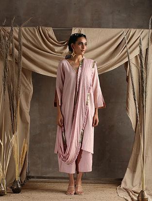 Rose Pink Cotton Khadi Kurta