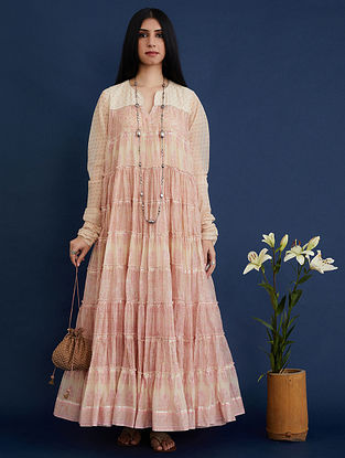 Pink and Beige Block Printed Cotton Chanderi Dress