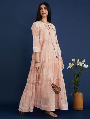 Pink and Beige Block Printed Cotton Chanderi Kurta